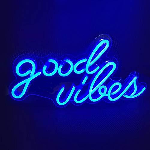 Ulalaza Letrero de luz de neón LED Good Vibes Night Lights operado por USB Letrero Decorativo de marquesina Bar Pub Store Club Garage Home Party Decor