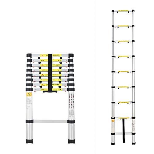 Todeco - Telescopische ladder, Opvouwbare Ladder - Maximale belasting: 330 lbs - Aantal stappen: 9-2,6 meter (8,5 voet), EN 131-6 / US, Extra spleet
