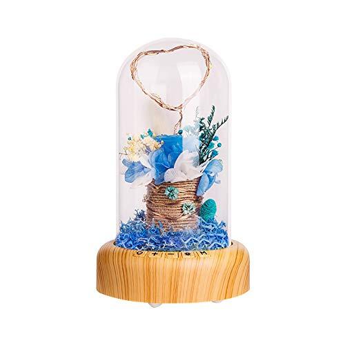Rosa Encantada,Serpentina de Deseos, luz de atmósfera de Sonido Bluetooth Elegante de Cristal con Base Madera Luces LED Regalo Magico Decoración para Día de San Valentín Bodas Navidad Cumpleaños (B)