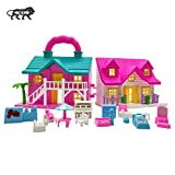 NHR Foldable Doll House 2 Room Set for Girls Kids , Openable Door with Furniture , 100% Non-Toxic...