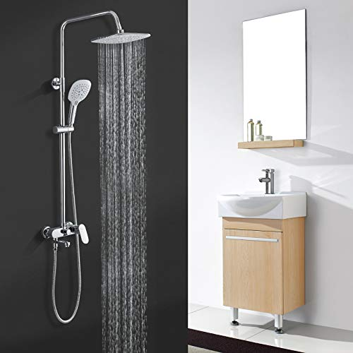 BONADE Sistema de ducha con grifo, grifo de ducha cuadrado con 3 tipos de chorro, columna de ducha de altura regulable con soporte de pared, juego de ducha para baño