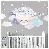 Little Deco Wandaufkleber Kinderzimmer Mädchen Mond & Wolken I XL - 75 x 50 cm I Wandtattoo Baby Wandsticker Deko Zimmer DL445