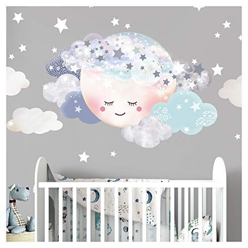 Little Deco Wandaufkleber Kinderzimmer Junge Mond & Wolken I M - 29 x 19 cm I Wandtattoo Baby Wandsticker Deko Zimmer DL445