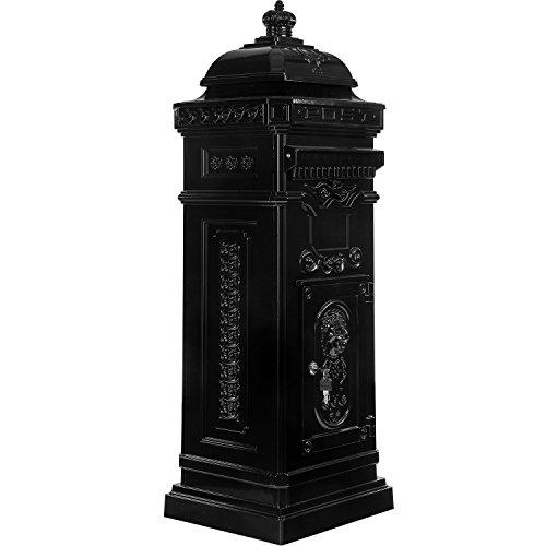 Maxstore Antiker englischer Standbriefkasten, rostfreies Aluminium, Höhe: 102,5 cm, Farbe: Anthrazit