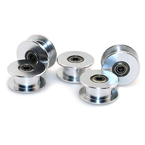 ICQUANZX Puleggia tendicinghia GT2 20 Senza Denti 3 mm alesaggio 6 mm Larghezza puleggia Ruota in Alluminio per Stampante 3D (Confezione da 5 Pezzi)