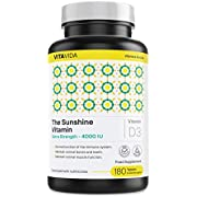 Vitamin D 4000 IU Supplement - Highest Strength Vitamin D3 Cholecalciferol for Bones, Teeth & Immune System Support - Fast Absorption 180 Sunshine Vitamins Made in The UK - by Vita Vida