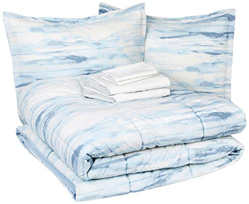 AmazonBasics 8-Piece Comforter Bedding Set, Full / Queen, Blue Watercolor, Microfiber, Ultra-Soft