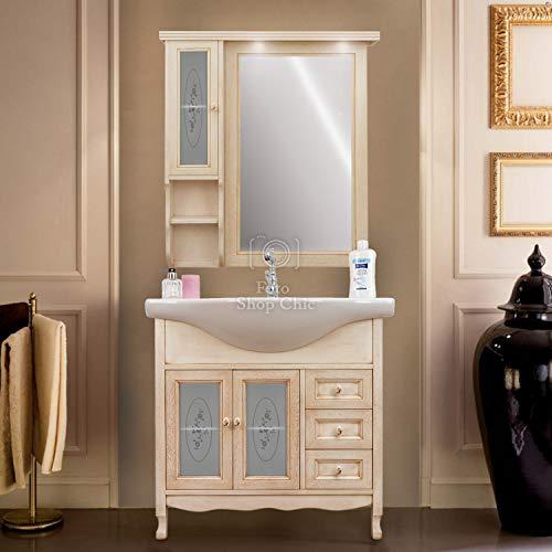 Shop Chic Arredo Bagno 85 cm Mobile Bagno decapato Specchio pensile Classico