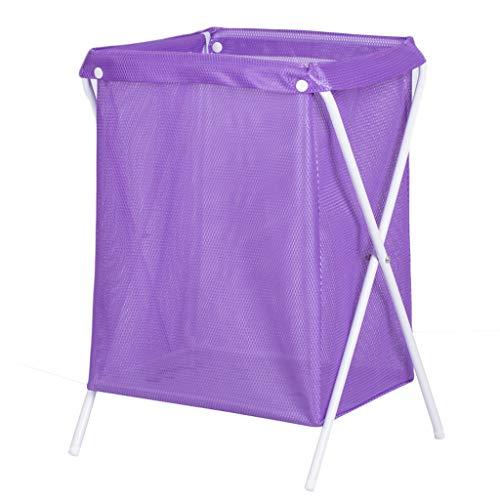 KKY-ENTER Panier à linge pliable Net respirant panier sale vêtements divers panier de rangement pourpre, 37 * 33 * 53 cm Coffre à Linge (Couleur : Iron pipe)