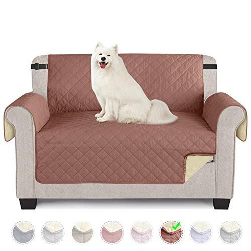 TAOCOCO Sofabezüge Schonbezug für Hunde wasserdichte Sofa Überwürfe mit Gummiband Anti-Rutsch-Schaum für Verschütten, Abnutzung und Riss schützen (Kupferbraun, 2 Sitzer)
