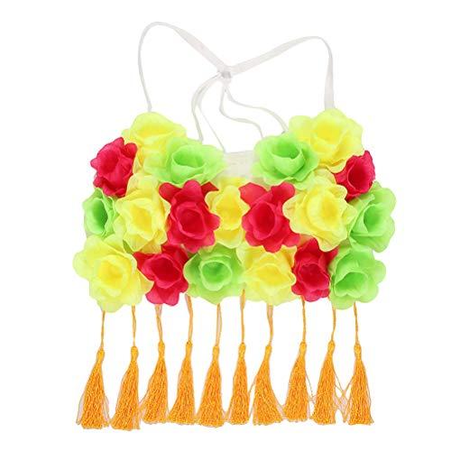 Amosfun Hawaii Grass Dance Kostüm Tuch Tropical Flower Performance Kleidung für Mädchen Frau Dame