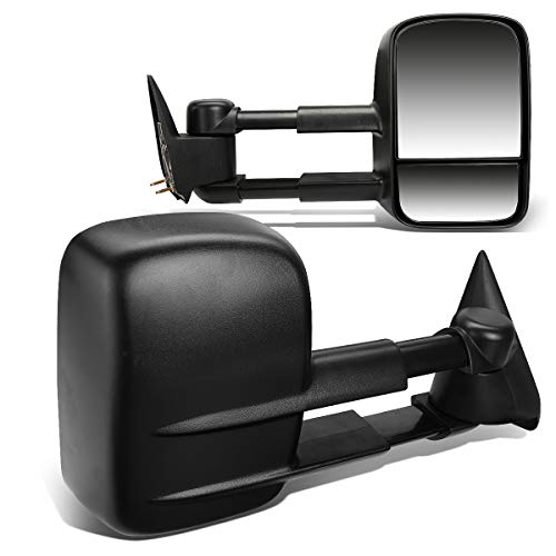 Black Pair Telescopic Extended Arm Rear View Manual Towing Side Mirror Replacement for Chevy Silverado GMC Sierra 99-06