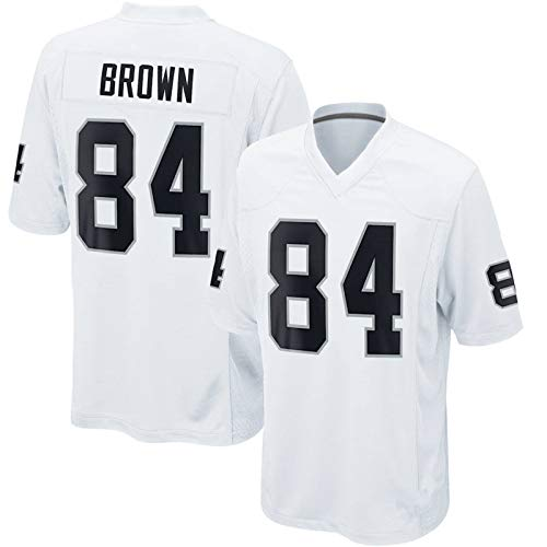 Las Vegas Raiders # 84 American Football Trikot, Antonio Brown Rugby Trikots, Fan Edition Stickerei T-Shirt Klassisches Rugby Trikot-White-S