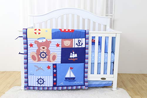 Linens And More Modern Luxury Quality 4 Piece Crib Bedding Sets for Girls and Boys, Set Includes, Fitted Sheet, Crib Bumper, Crib Skirt and Reversible Quilt (Captain Bear)