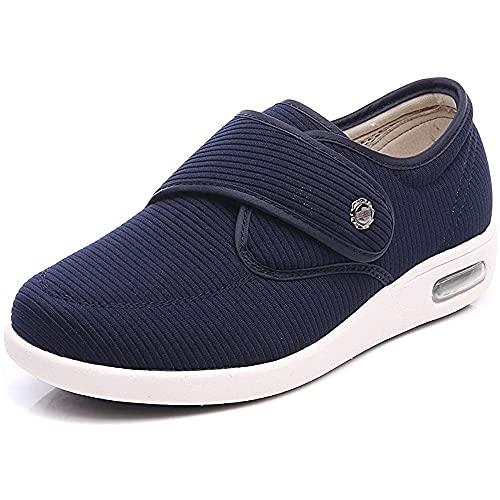 YHX Zapatos Anchos para Diabéticos para Mujeres/Hombres Zapatillas De Deporte Cierre Ajustable Transpirable Ligero para Ancianos Edema Diabético Pies Hinchados Al Aire Libre,Azul,36EU