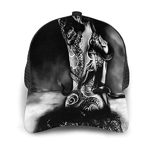 Gorra de Beisbol Espalda de Malla Senderismo al Aire Libre Sombrero Deportivo,Chica Yakuza Tatuaje de una Serpiente del Clan Sinoby sentada sobre una,Gorra de Sol de Enfriamiento para Hombres Mujeres