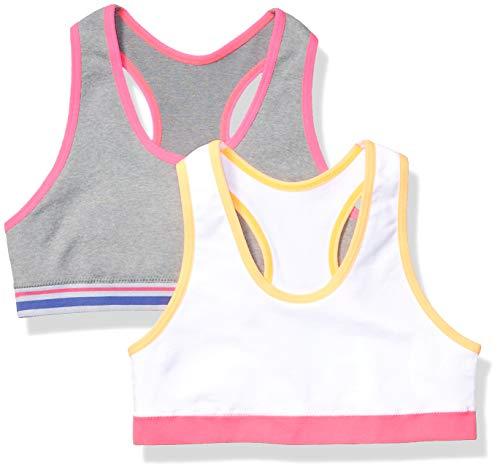 Amazon Essentials Girl's 2-Pack Active Sports Bra, Grey/White, M (8)
