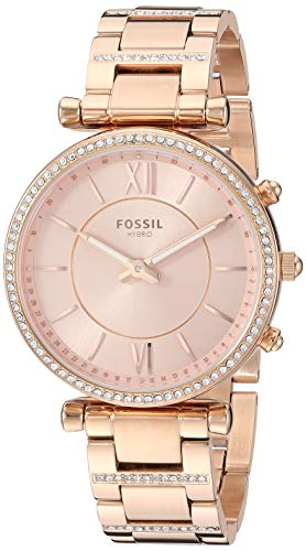 Fossil Women's Hybrid Smartwatch Watch with Stainless-Steel Strap, Rose Gold, 16.1 (Model: FTW5040)