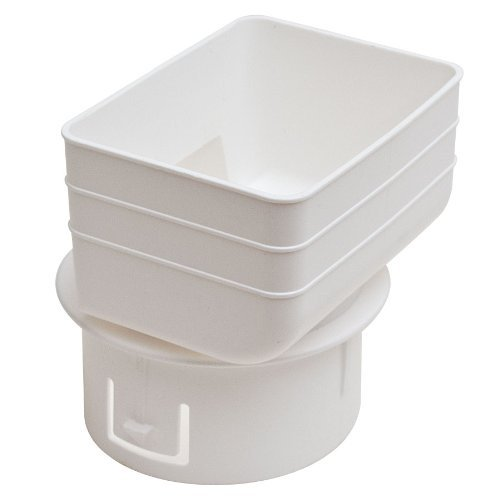 Universal Downspout to Drain Pipe Tile Adapter (White, 3x4x4)