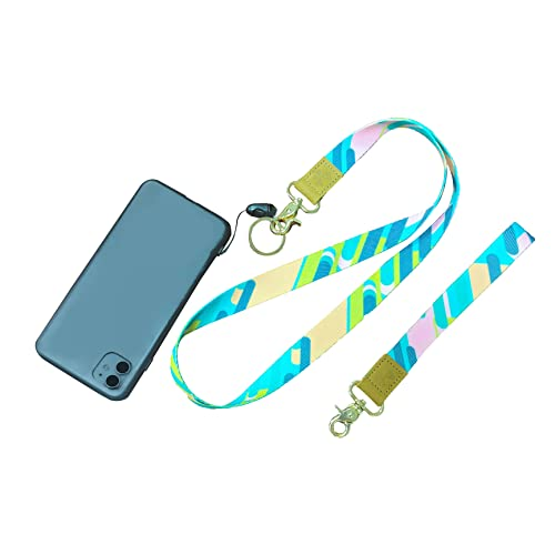 QMEET Phone Lanyard,phone wristlet,phone lanyard for women,1× Adjustable Neck Strap,1× Wrist Strap,various colors and styles for Lanyard Compatible with All Smart phone(green)