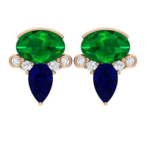 Pendientes de tuerca de piedras preciosas, 1,6 quilates forma ovalada esmeralda, pendientes de zafiro azul, pendientes en forma de pera, 18K Oro rosa, Par
