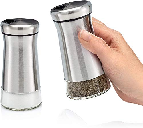 Home EC Premium Salt and Pepper Shakers with Adjustable Pour Holes - Elegant Stainless Steel Salt and Pepper Dispenser - Perfect for Himalayan, Kosher and Sea Salts - Spices W/Collapsible Funnel/Ebook