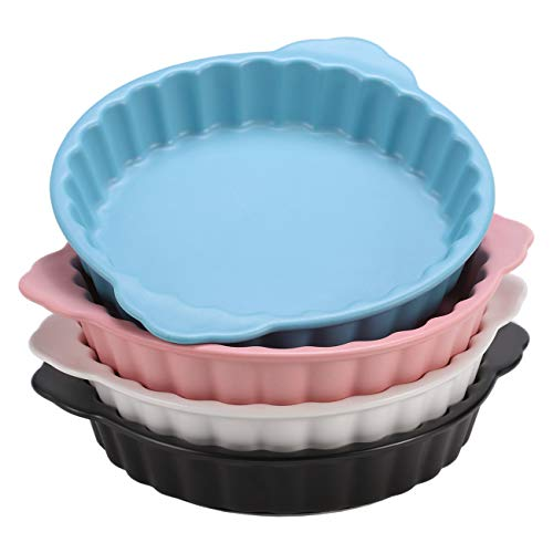 Eglaf 6.5'' Ceramic Quiche Pans - Round Fluted Flan Tart Pie Pan - Porcelain Baking Dish for Dessert Baking, Food Heating & Roasting (Set of 4 Color Mix)