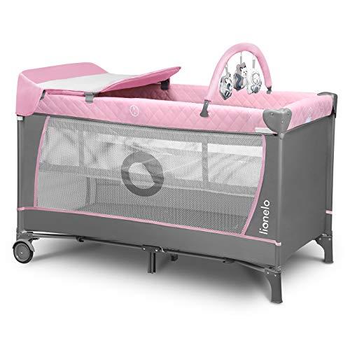 LIONELO Flower Camita de viaje 2 en 1 Para niños hasta 15 kg Colchón Organizador Cambiador Toy bar Juguetes interactivos 2 Reudas Compacta Bolsa para transportar Rosa y Gris