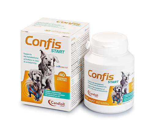 Candioli Confis Start - Supporto del metabolismo articolare in caso di osteoartrite per cani adulti e cuccioli, Barattolo da 40 compresse, 80 gr