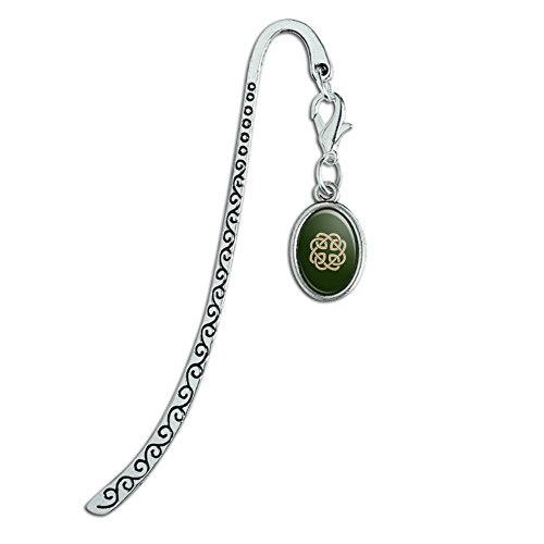 Celtic Knot Love Eternity Metal Bookmark Page Marker with Oval Charm