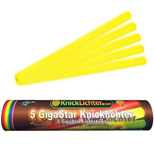 5 Knicklichter | 300 x 15 mm | GELB | Giga Star | Extra groß | ca. 14 h Brenndauer