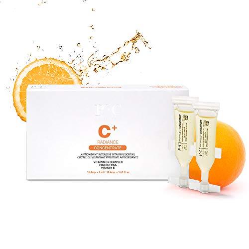 Ampollas para Cuidado de Piel y Cara, Facial Radiance C+ Concentrate 10 unidades de 5ml Concentrado de Vitaminas C+ Estabilizada 10% E A Combinación de Activos Pro-Retinol y Centella Asiática