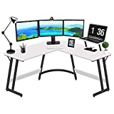 L Shaped Computer Desk Modern Home Office Corner Gaming Table,Small Writing Study Workstation with Monitor Stand, 51 Inch Space Saving,White Black