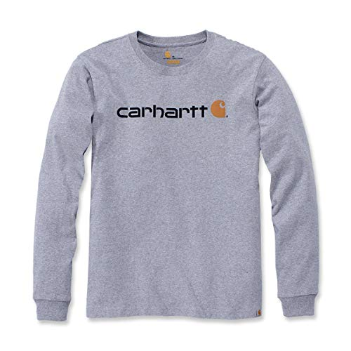 Carhartt Herren Long-Sleeve Workwear Signature Graphic Core Logo T-Shirt, Heather Grey, M