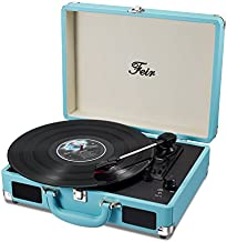 Vinyl Stereo Blue Record Player 3 Speed Portable Turntable Suitcase Built in 2 Speakers RCA Line Out AUX Headphone Jack PC Recorder