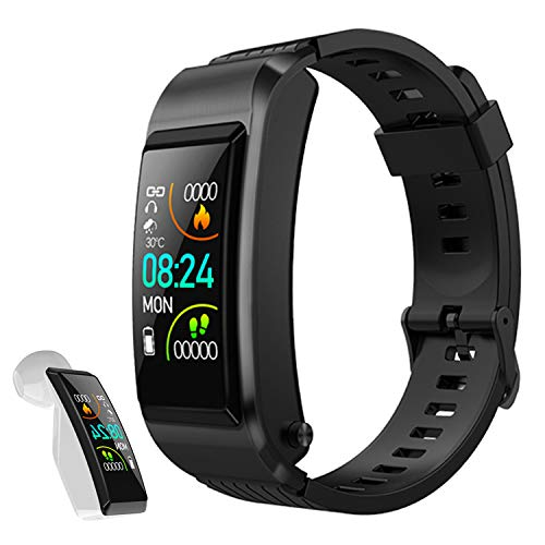 NYZ Fitness Tracker, Smartband Wireless Bluetooth Earbuds Watch 3 in 1 with Heart Rate Monitor Step Calorie Tracker Sport Mode Call Answer HiFi Music Charing Case for Men Women Kid
