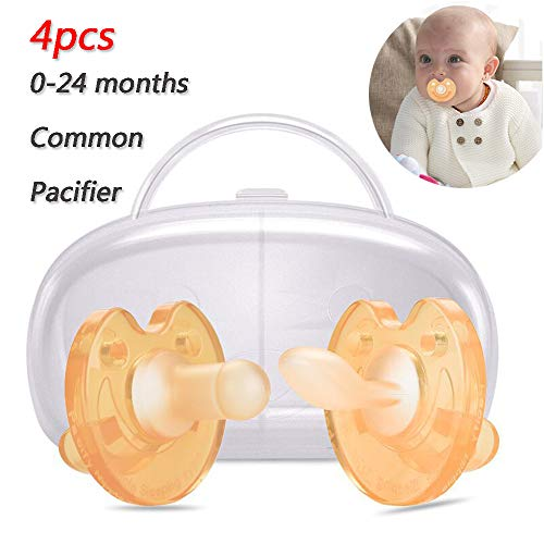 Fopspenen Baby, Night Fopspenen Day Pacifier 0-24 maanden fopspeen voor baby's die borstvoeding (4 Pack, 2 Fopspeen Case)