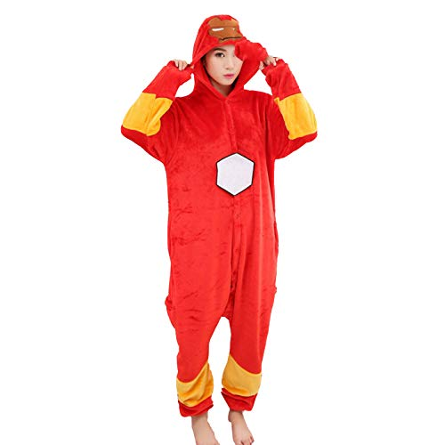 Kind Iron Man Fleece Pyjama in einem Stück mit Kapuze Sleepsuit Jungen Mädchen Lovely Home Wear Winter-Komfortabler Schlafanzug,Red- Adult/166~175cm