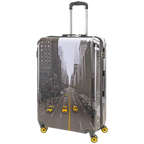 Flight Knight Hard Case Printed Luggage Suitable for easyJet, British Airways, Ryanair, Cities, Prints, Landscapes, Art, Hard Case Suitcases 8 Wheel Travel Bag Set & Carry Ons