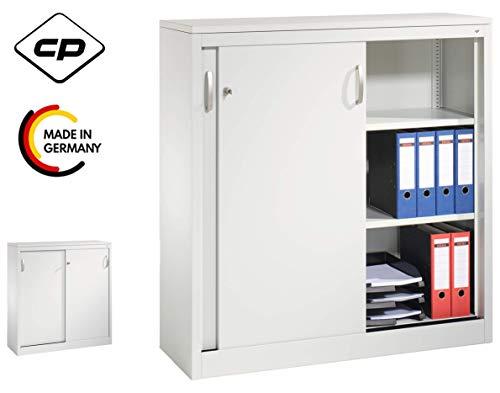 bümö CP Aktenschrank mit Schiebetüren abschließbar - Schiebetürenschrank Metallschrank Büroschrank Stahlschrank (Höhe: 120 cm | Breite: 120 cm)