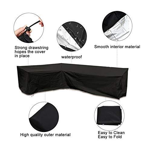 Bank van de Hoek Cover Outdoor Tuinmeubelen Durable Heavy Duty Black Furniture Dust Cover waterdichte hoes (Size : 286 * 222 * 82 * 78cm)
