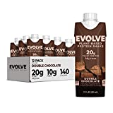 Evolve Plant Based Protein Shake, Double Chocolate, 20g Vegan Protein,...