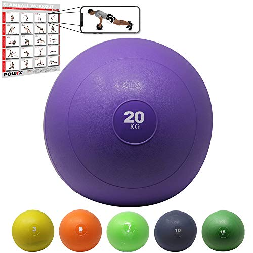 POWRX Slam Ball Medicine Ball 20 kg - Ideal for »Functional Fitness« Exercises, Muscle strengthening and toning - Content of Sand and Anti-Bounce Effect + PDF Workout (Viola)