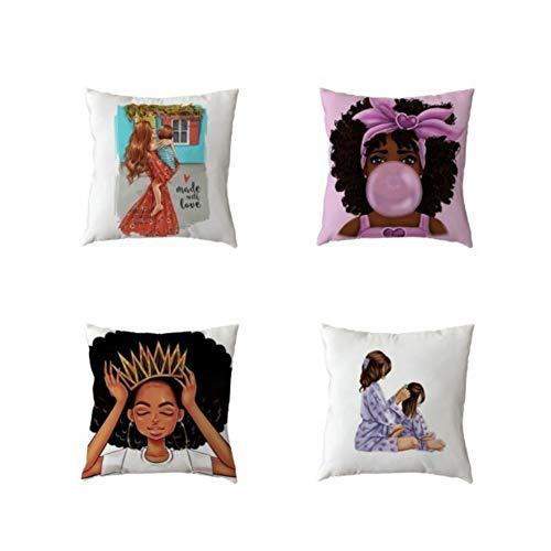 Funda de cojín de 18 x 18 pulgadas, diseño de día de la serie de caracteres de San Valentín suave Plaza de decoración, funda de almohada para Living Room sofá cama de 4 fundas de almohada 2