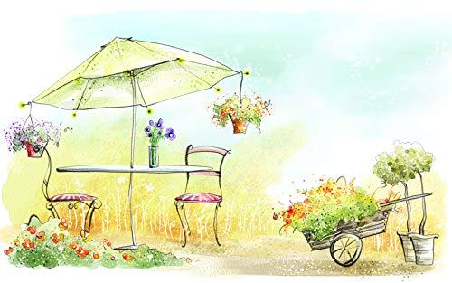 GHIJVYG Pintar por Numeros para Adultos Ninos Pintura por Numeros con Pinceles y Pinturas Decoraciones para el Hogar Mesa y Silla de Arte Abstracto de Flores