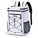 OlarHike Cooler Backpack with Reflective Strip, Insulated Waterproof 30 Cans Backpack Cooler Bag (White)