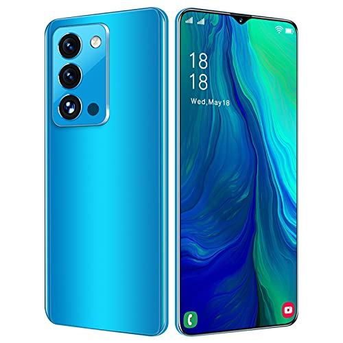 Unlocked Smartphones, Dual sim Unlocked Cell Phones, Rino7pro+ 7 inch 3-Camera Android 4G RAM + 64GB ROM, 6800mAh High-Definition Full Screen, Face ID, 19: 9 Water Drop Project (Blue)