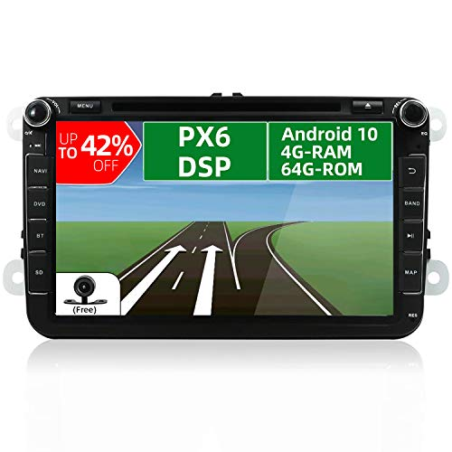 """JOYX PX6 DSP Android 10 Autoradio Compatibile con VW Skoda SEAT Golf Polo Jetta Passat Touran - 4G+64G - 8"""" GPS 2 Din - Camera & Canbus GRATUITI - Supporto DAB HDMI AHD-Camera 4K-Video Volante 4G WiFi"""