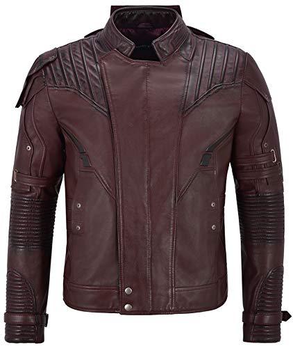Smart Range Leather Co Ltd. Guardians of Galaxy 2 Chaqueta de Cuero para Hombre Cherry Star Lord Pratt Maroon 4095