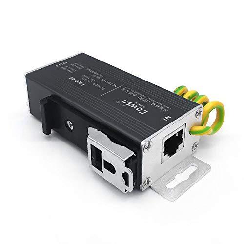 Ethernet Surge Protector PoE+ Gigabit (con opzione DIN Rail Mount da 35 mm) RJ45 Lightning Suppressor LAN Network CAT5 CAT6 Thunder Arrestor Gas Discharge Tube per protezione completa